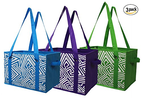 EarthWise Reusable Grocery Bag Shopping Box Tote COLLAPSIBLE BAG with Reinforced Bottom in 3 Bright Colors (Set of (Reusable Recyclable Tote Bag)