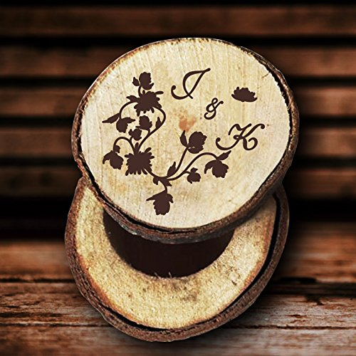 Amazon Com Vintage Floral Wedding Ring Box Rustic Wood Personalized