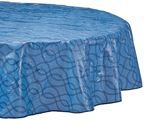 - Farberware Vinyl Spill Proof Outdoor/Indoor Swirl Design Round Tablecloth, 70