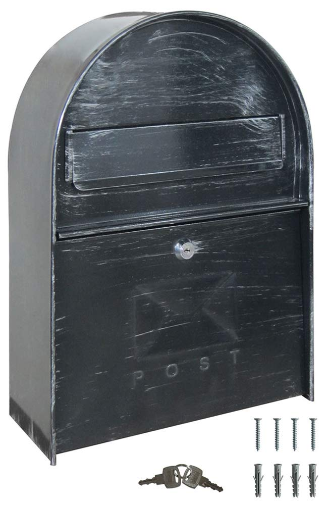 Retro Antique Nostalgia Vintage Letter Box Post Box Wall Mail Box Antique Grey V2Aox