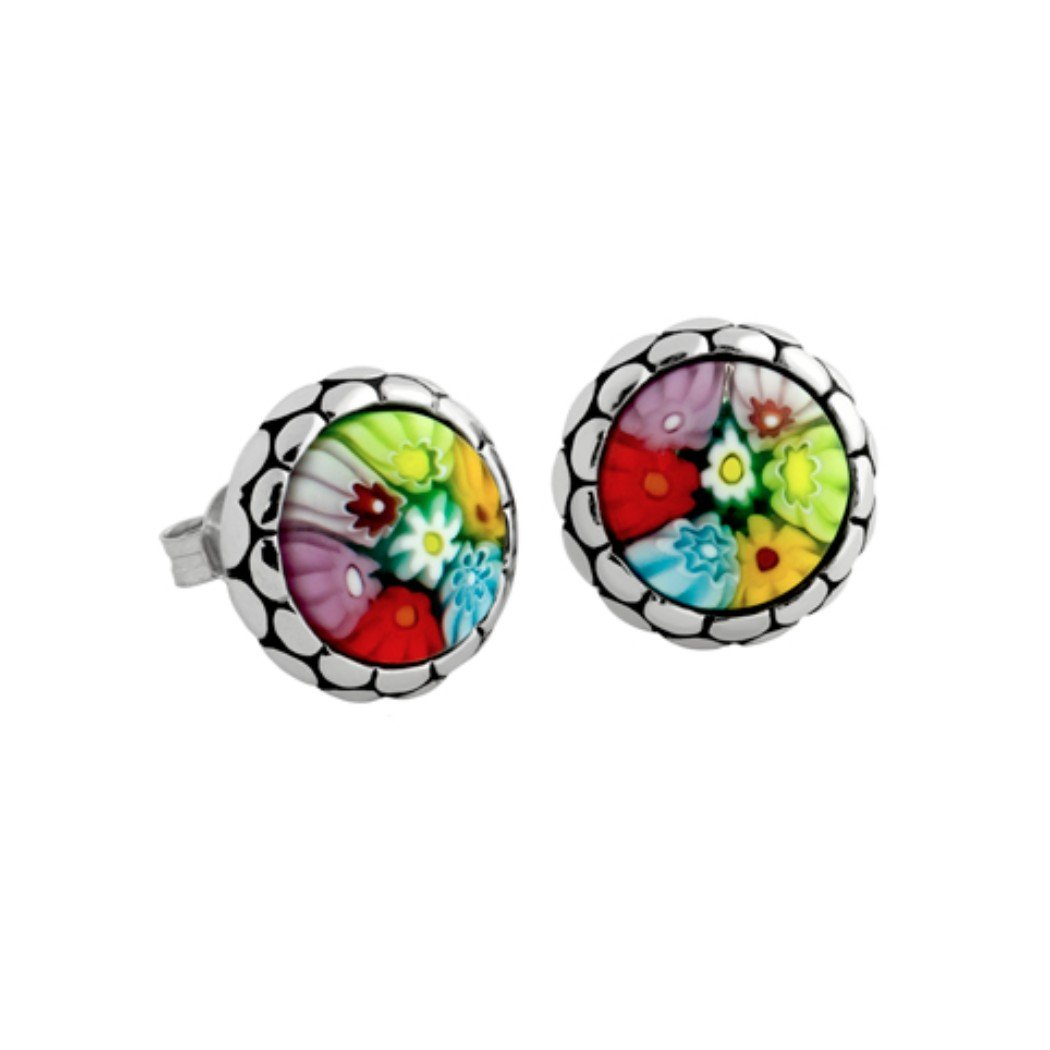Sterling Silver Multicolor Glass Murano Millefiori Round Stud Earrings (Made in Italy)