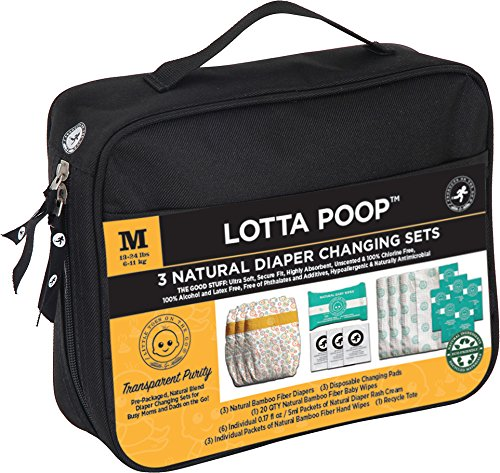 Little Toes On The Go Lotta Poop 3 Complete Natural Diaper Change Sets with Bamboo Baby Diapers, Diaper Cream, Baby Wipes, Hand Wipes, Disposable Changing Pad with Fabric Case (Medium - Complete Kit Otg