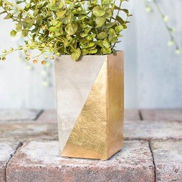 Concrete Vase, Planter Pot, Rectangular Candle Holder, 6.5 in, Gold (Concrete Decor)