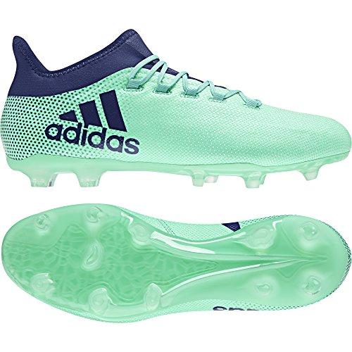 Adidas X 17.2FG pavimento duro–43.3Stivale da adulto calcio stivali di calcio, pavimento duro, Adulto, Uomo, suola con tasselli, Blu, Verde, Monótono)