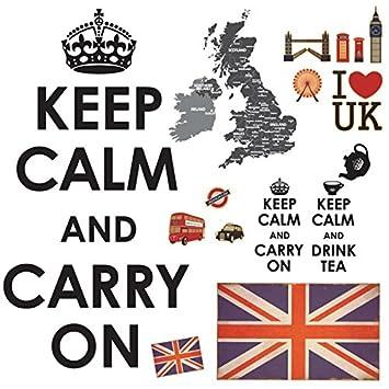 Decowall dw-1309 United Kingdom Map Union Jack Flag London ...