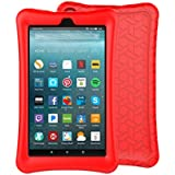 LTROP Tablet Case All Fire 7 - Light Weight Shock Proof Soft Silicone Kids Friendly Case All Fire 7 Tablet (7th Generation, 2017 Release), Red