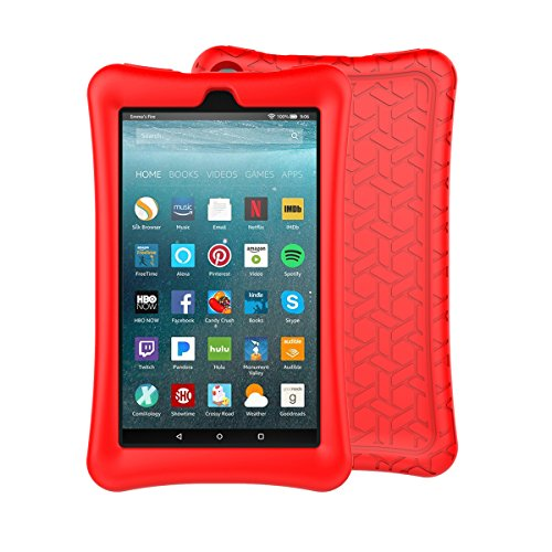 LTROP Tablet Case for All-New Fire 7 - Light Weight Shock Proof Soft Silicone Kids Friendly Case for All New Fire 7 Tablet (7th Generation, 2017 Release), Red