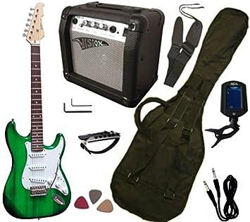 Pack de guitarra eléctrica: amplificador de 15 W, afinador electrónico, 7 accesorios, verde transparente: Amazon.es: Instrumentos musicales