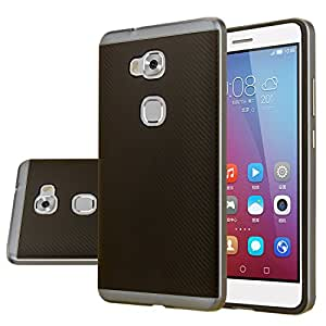Huawei Honor 5X Case, Aomax® Armor [Dual Bumper] Slim Fit Skin Silicone Case + PC Bumper Frame+ Metallized Buttons For Huawei Honor 5X (DHF Metal slate)