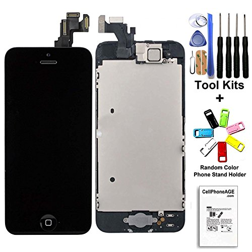 CELLPHONEAGE For iPhone 5 New LCD Touch Screen Replacement With Home Button and Camera Full Set Digitizer Display Assembly Replacement + Free Tool Kits + Free Gift (Black)
