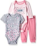 Tommy Hilfiger Baby Girls' 3 Piece Creeper Pants Set, Pink/Gray, 0-3 Months