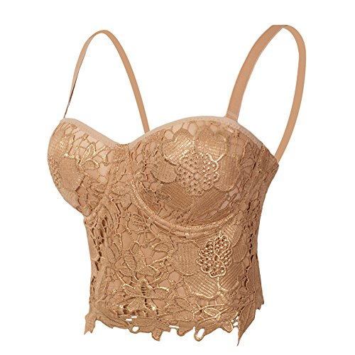 She'sModa Women's Froal Lace Bustier Corset Club Party Crop Top Bra With Adjustable and Removable Straps S Khaki&Gold