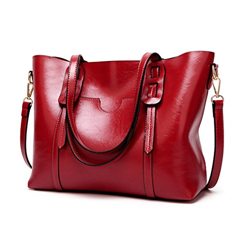 Miss Lulu Women Shoulder Bag Pu Leather Cross Body Bag Stylish Top Handle Handbag Purse Large Capacity Classic Ladies Tote? Burgundy