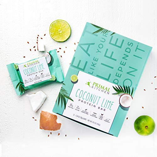 Primal Kitchen Coconut Lime Protein Bars (12 Pack), 8 Grams of Protein, Keto Friendly