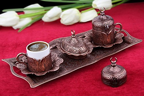 HIGH END Copper plated METAL Coffee Set for Turkish, Arabic, Greek and Espresso coffee for 2 - Made in Turkey - 11 pieced set, Copper