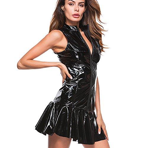 nuochimaoyi Lingerie Set Women Sexy Zipper Lingerie Stripper Leather Underwear Vest Dress Lingerie for Women Bodysuit