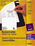 "Avery Removable ID Labels for Laser and Inkjet Printers, 4"" x 3-1/3, White, Rectangle, 60 Labels, Removable (6499)"