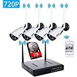 4CH HD 720P Wireless Security Cameras System IP WIFI NVR Kit Waterproof Night Vision Remote View Motion Detection Included 1TB HDD