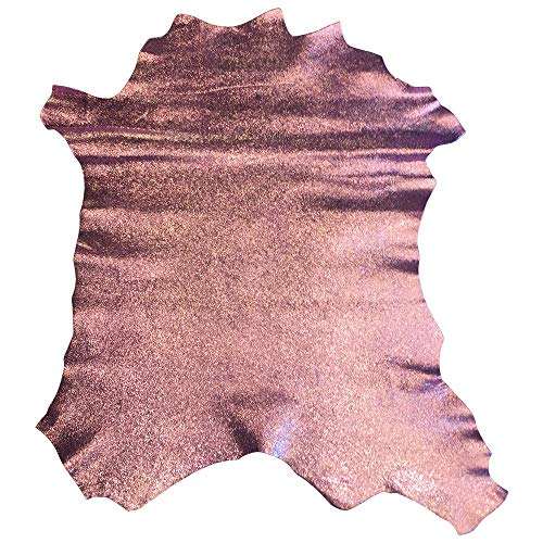 - Genuine Craft Leather Hides - Top Quality Lambskin - DIY Supply - Sparkly Pink Color - 4 sq ft - AVG 24¨x 22¨at longest and widest - Cracked Finish - Real Sheepskin Material - Home Decor Upholstery Fa