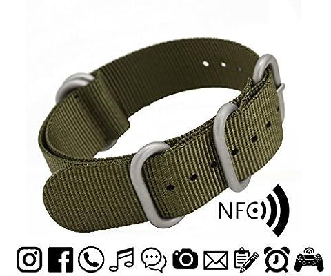 MetaStrap 22mm NFC Nylon Strap Zulu Watch Band (Army Green) (Watch Strap Ring)