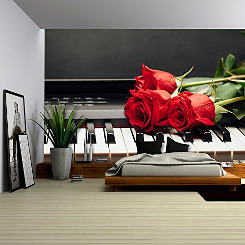 Piano Keys and Red Rose with Copy Space