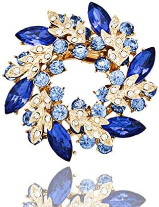 Azul VOANZO 2pcs Bauhinia Rhinestones Broche Pin Noble Moda Azul Corona Cristalino Breastpin para Ropa Collar Vestido Bufanda Decoraci/ón