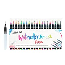 20 Watercolor Brush Pens w/ A Water Coloring Brush - Watercolor Brush Markers w/ A Water Coloring Brush - Soft Flexible Tip for Adult Coloring Books, Manga, Comic, Calligraphy