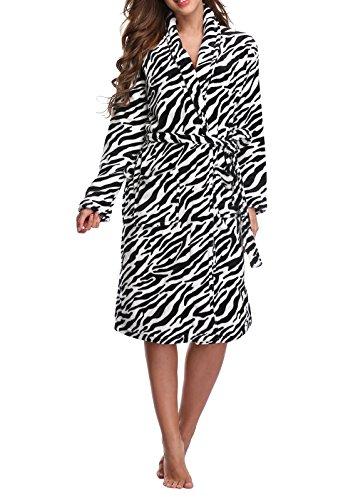 Kristin Fox Women's Fleece Robe Long, Soft Plush Bathrobe, Print Warm Sleepwear for Winter, Zebra (Zebra Bathrobes For Women)