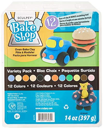 - Polyform Sculpey Bake Shop Clay Variety Pack, 14-Ounce (392090)