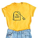 BLACKOO Women's Cute T Shirt Juniors Tee Graphic Tops Yellow Large