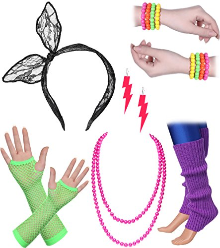 BABEYOND 80s Outfit Costume Accessories Neon Earrings Fishnet Gloves Leg Warmers Headband Bracelets (Set (Rings Costume Accessories)
