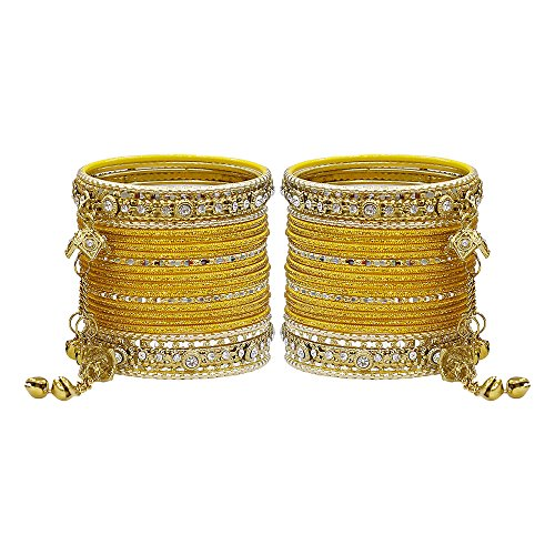 MUCH-MORE Gorgeous Collection Fashion Made of Latkan Bangles for Women & Girls (H-Yellow, 2.4)