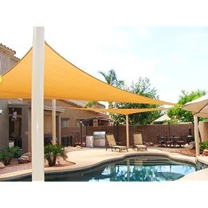 Big 20'x20'x20′ Oversized Triangle Garden Patio Sun Sail Shade 20 ft, Color Desert Sand