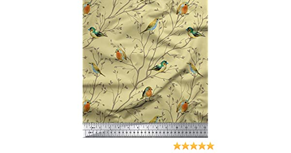 Bird Flower Branch Printed On Fabric Panel Make A Cushion Upholstery Craft