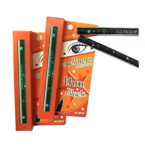 QBEKA Makeup Black Waterproof Liquid Eyeliner, Double-Ended Eyeliner Stamp Eyeliner Tattoo (Pentagramme)