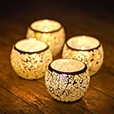 Mosaic Candle Holders Handmade Glass Tea Light Candles Votive Bowl Small Candle Holder for Party Romance Gift Idea Set of 4 by JABORN