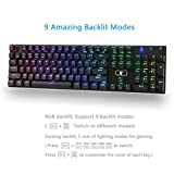 Granvela MechanicalEagle Z-88 104 Keys Mechanical Gaming Keyboard with 9-Mode RGB Backlit and Blue Switches,DIY-Replaceable Switches - Black