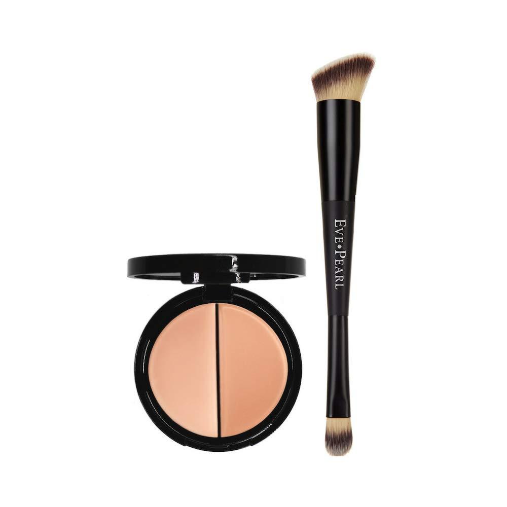 EVE PEARL Dual Salmon Concealer And 202 Concealer Blender Brush Full Coverage Under Brighten Eye Pro Concealer Brush Set Makeup Kit (Medium)