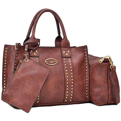 Women Handbag 3 Pieces Set Leather Shoulder Bag Satchel Purse 3 in 1 Simple Design Coffee by MKY