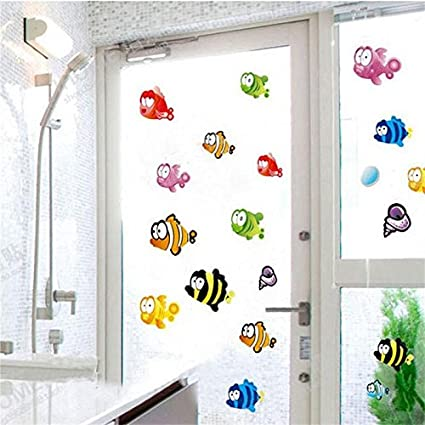 JEWH Underwater Fish Starfish Bubble Wall Sticker for Kids Rooms Cartoon Nursery Bathroom Children Room Home