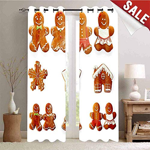 (Hengshu Thermal Insulating Blackout Curtain Vivid Cute Christmas Gingerbread Biscuits Set Snowflake House Tree Blackout Draperies for Bedroom W72 x L96 Inch Light Brown White)