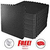 ComFy Protective Floor Puzzle Exercise Mat, EVA Foam Interlocking Tiles, Protective Flooring for Home Gym Indoor Outdoor Workouts and Garage (Black, 1 TILE ( 4 Square feet))