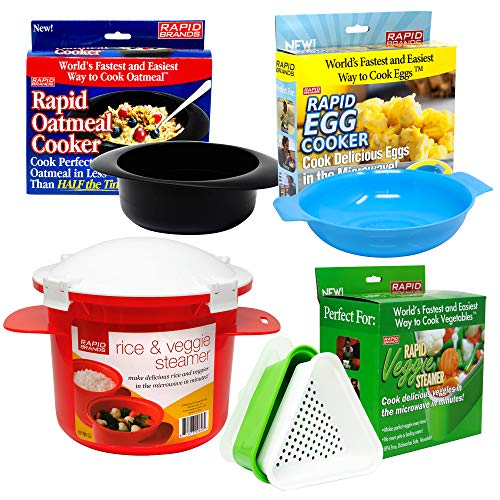 Rapid Brands 4-Piece Rapid Microwave Cookware Set for Healthy & Quick Cooking | Perfect for Dorm, Small Kitchen, or Office | Dishwasher-Safe, Microwaveable, & BPA-Free