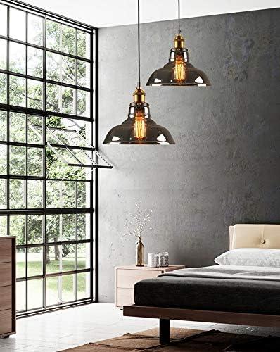 Suspension industrielle vintage restaurant D abat-jour et ampoule en verre fum/é gris en verre de 1.5 m en verre suspendu plafonnier pour bureau /à domicile avec chambre /à coucher