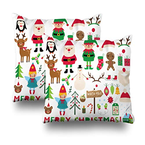 Geericy Set of 2 Decorative Throw Pillow Covers Christmas Santa Deer Elf Angel and Decoration Christmas Elf Scrapbook Angel Cushion Cover 18X18 Inch for Bedroom ()