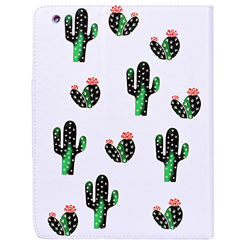 Funda iPad 2 WE LOVE CASE Piel y Tipo Cartera Carcasa Funda iPad 4 caso de Cuero Original Funda Que Se Pega con Ranura Para Tarjeta Card Holder y Stand Cierre Anti Shock Funda Apple iPad 2 / 3 / 4 uni cactus