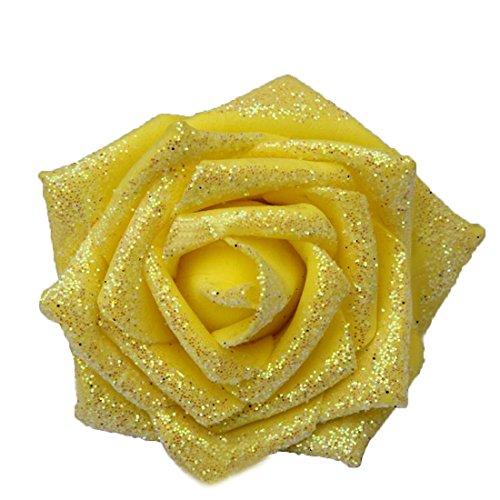 50pcs Foam Rose Flower Head Artificial Flowers Bouquet (Yellow) - 9