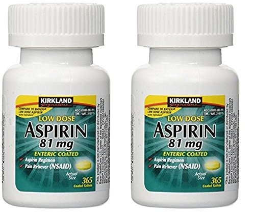 Kirkland Signature LOW Dose Aspirin 81mg Pain Reliever Aspirin Regimen Safety Coated Enteric - 2 Packs of 365 Coated Tablets (730 Tablets Total) ()