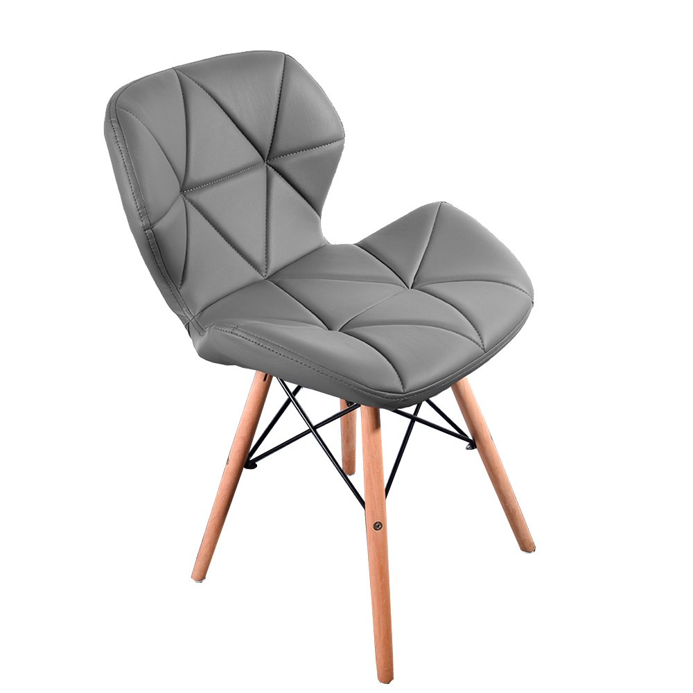 Storeinuk modern furniture eiffel style dining wooden chairs wood legs comfortable padded seat home office design dining chair set one piece grey