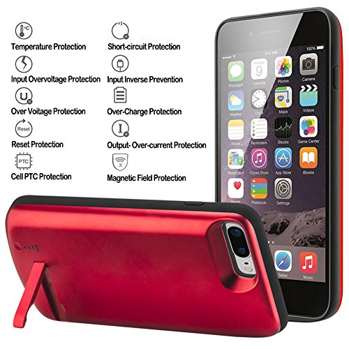 iPhone 7 Plus Battery instance Cofuture 8000mAh electric power Bank mobile or portable Extended Battery Charger instance help and support Lightning Headphone Sync by using by using Pop Out Kickstand iPhone 7 Plus 8 Plus Red Battery Charger Cases